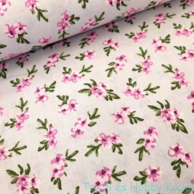 Lila virágos pamutvászon - szürke