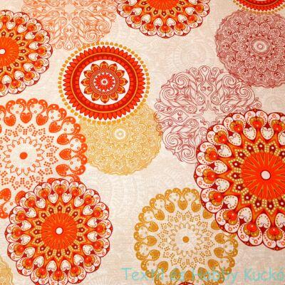 Mandalás dekorvászon - narancs