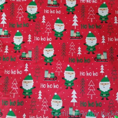 Mikulásos karácsonyi pamutvászon piros alapon
