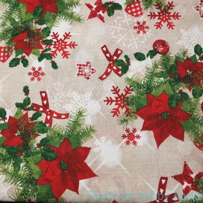 Mikulásvirágos karácsonyi dekorvászon