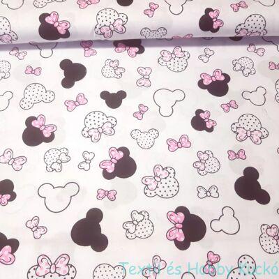 Minnie rózsaszín masnival pamutvászon(160 cm) - fehér alapon