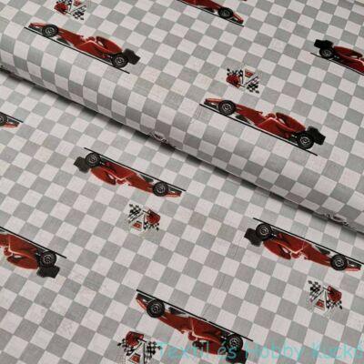 Piros versenyautós pamutvászon (160 cm)