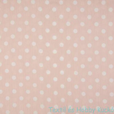 Dusty Pink pöttyös pamut puplin - 12 mm