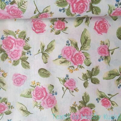 Rózsaszín rózsás pamutvászon ecrü alapon