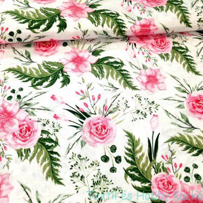Rózsás pamutvászon - rózsaszín