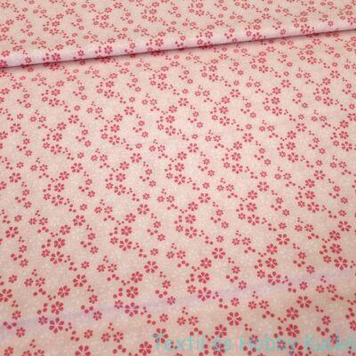 Rózsaszín virágos pamutvászon - rózsaszín alapon