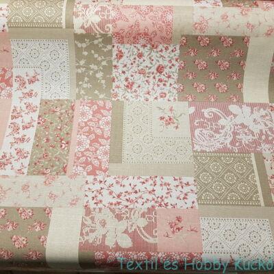 Rózsaszín patchwork virágos impregnált vászon