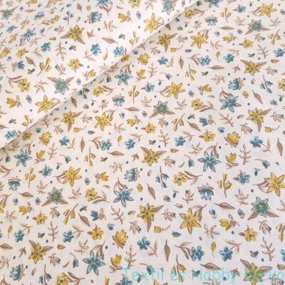 Sárga-türkiz virágos pamutvászon