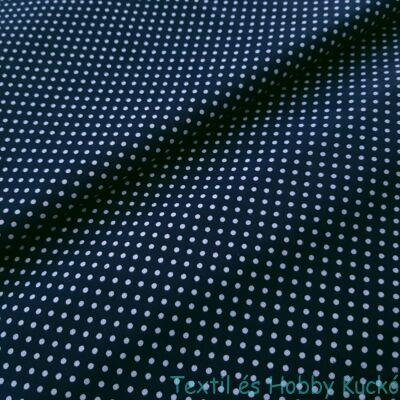 Sötétkék alapon pöttyös pamutvászon ( 2 mm )