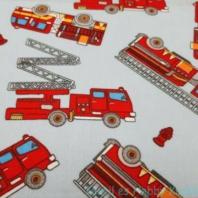 Tűzoltóautós pamutvászon - kék alapon