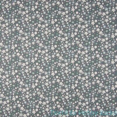 Virágmintás pamut puplin - szürke