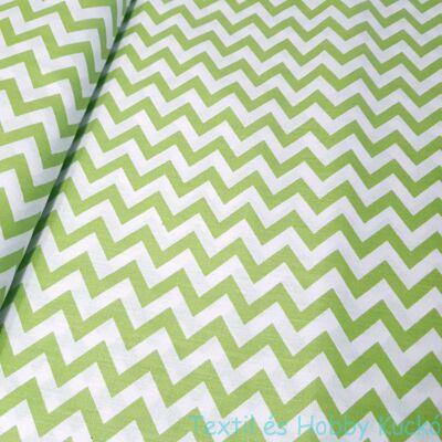 Zöld - fehér Chevron mintás pamutvászon