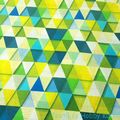 Zöld-sárga absztrakt mintás dekorvászon