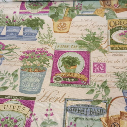 Fűszernövények-lilás dekorvászon