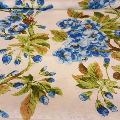 Kék, nagy virágos dekorvászon (ecrü alapon)