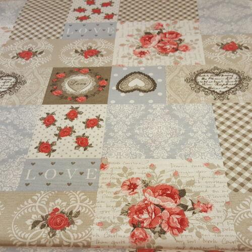 Kékes-szürkés-szíves-rózsás dekorvászon-VINTAGE stílus