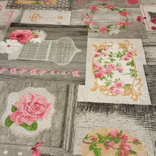 Szürkés- rózsaszín rózsás dekorvászon