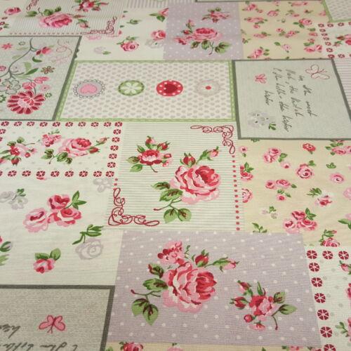 Patchwork-rózsaszín virágos dekorvászon