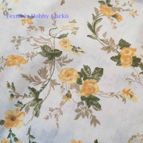Sárga virágmintás pamutvászon