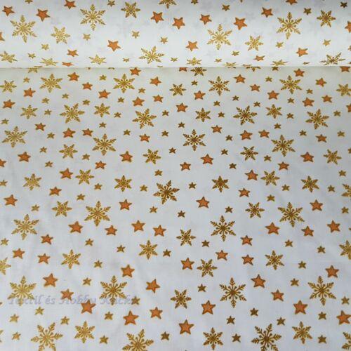 Arany csillagos fehér karácsonyi pamutvászon