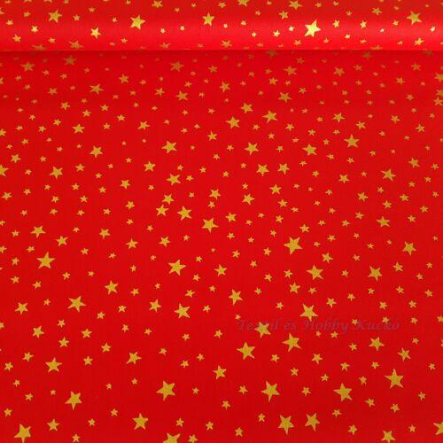 Arany csillagos piros karácsonyi pamutvászon - Prémium minőség