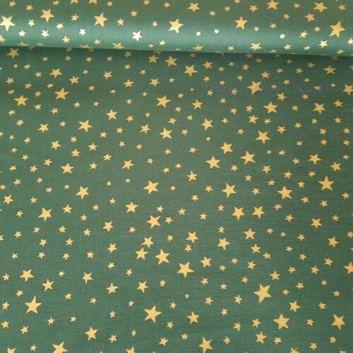 Arany csillagos zöld karácsonyi pamutvászon - PRÉMIUM minőség