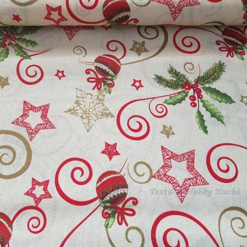 Karácsonyi kevertszálas vászon fehér alapon