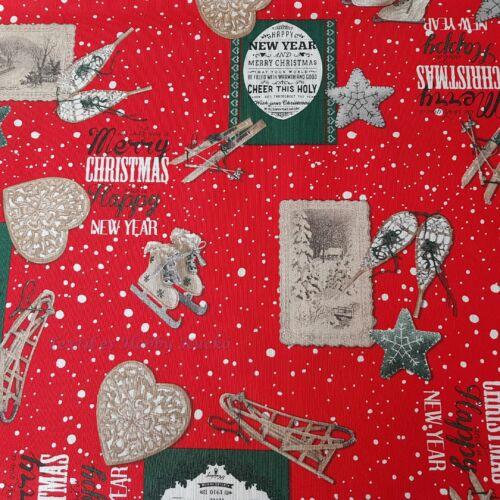 Karácsonyi dekorvászon piros alapon korcsolyák, sílécek