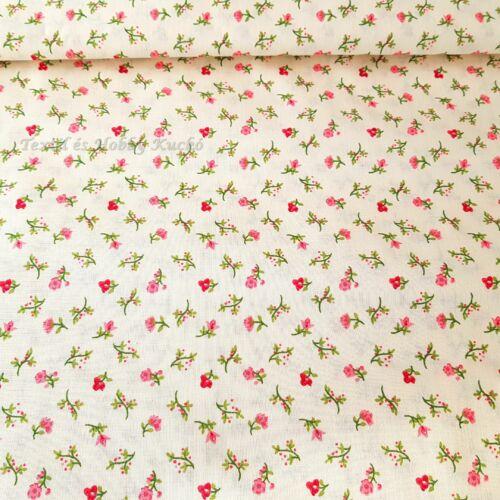 Apró rózsaszín virágos  pamutvászon ecrü alapon