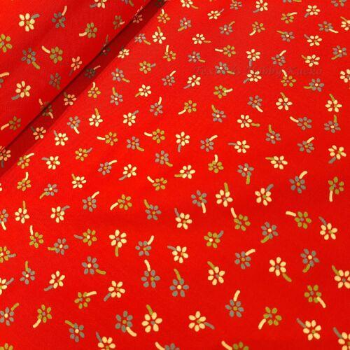 Apró virágos pamutvászon piros alapon