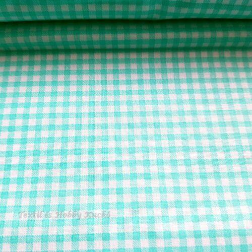 Türkizzöld kockás pamutvászon - 3 mm