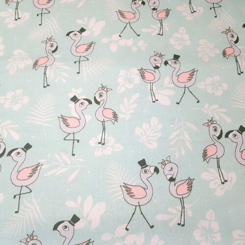 Flamingós pamutvászon - 160 cm - menta alapon