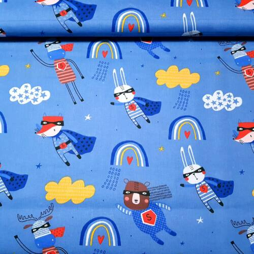 Superhősös állatok - pamutvászon kék alapon (160 cm)