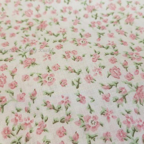 Apró rózsaszín virágmintás pamutvászon