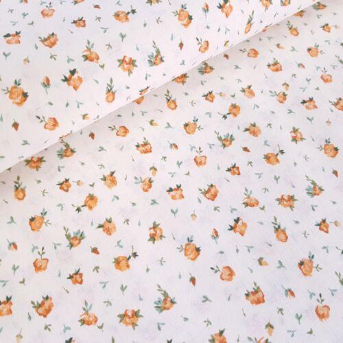 Apró narancssárga rózsás pamutvászon