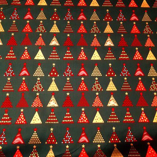 Arany, piros karácsonyfás PRÉMIUM pamutvászon zöld alapon