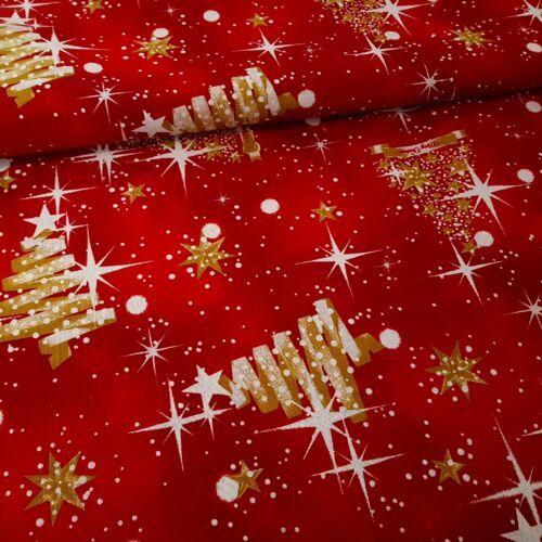 Arany karácsonyfa mintás karácsonyi dekorvászon - piros alapon