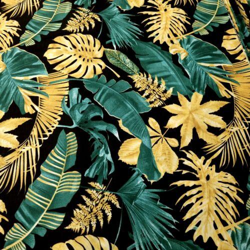 Arany-zöld pálmaleveles pamutvászon - 160 cm