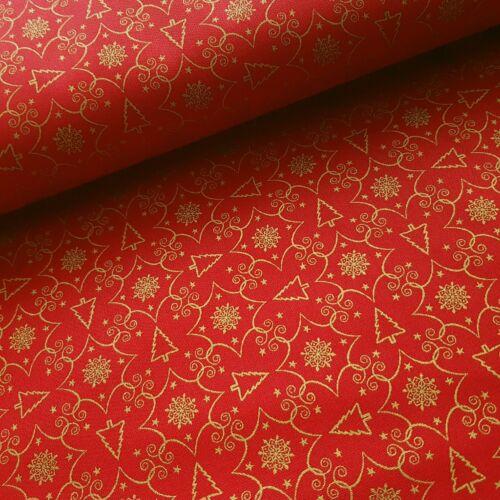 Arany karácsonyfás PRÉMIUM pamutvászon piros alapon