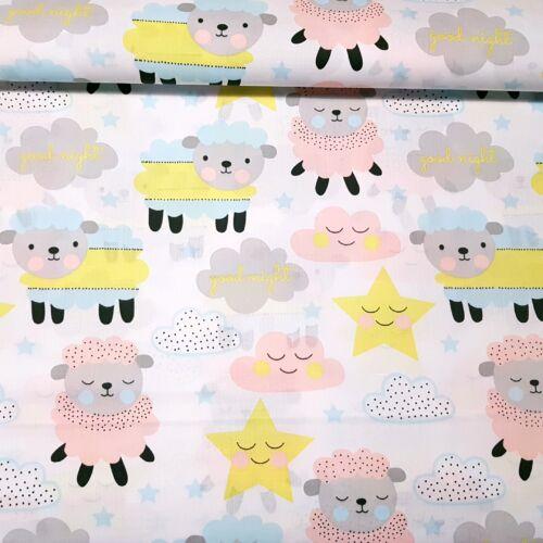 Báránykák felhők, csillagok között - pamutvászon (160 cm)