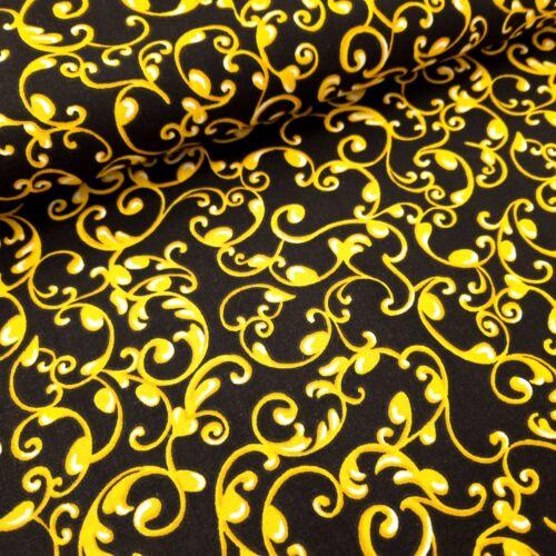 Barokk mintás pamutvászon - Arany-fekete