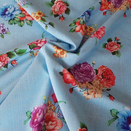 Blúz selyem - világoskék alapon virágmintás