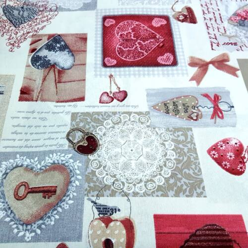 Bordó szíves - kulcsos dekorvászon (vintage stílus)
