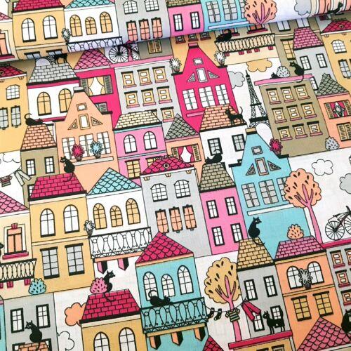 Cicák a háztetőn pamutvászon - Pink