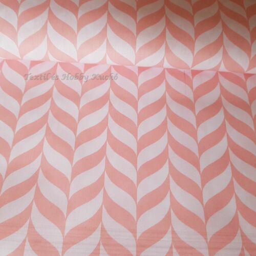 Rózsaszín cikk-cakk mintás pamutvászon