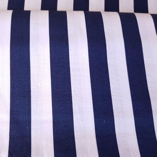 Kék - Fehér csíkos pamutvászon (20 mm)