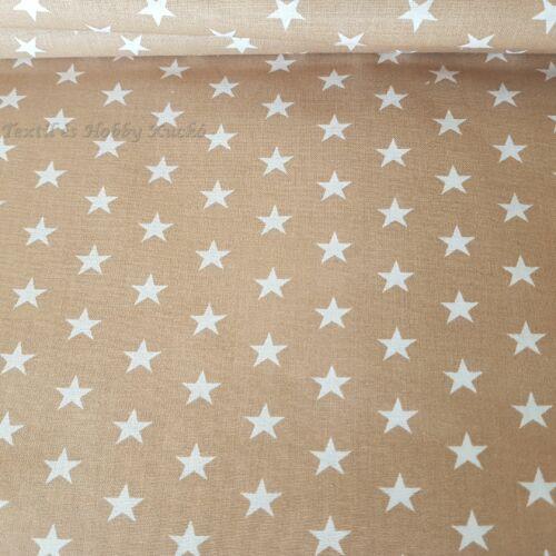 Fehér csillagos pamutvászon drapp alapon