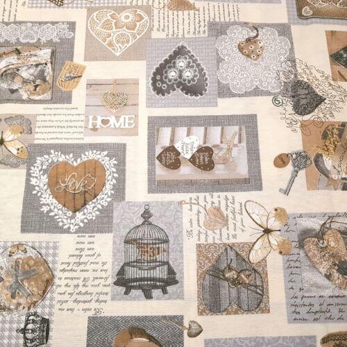 Szürke/Drapp szíves - kulcsos dekortextil (vintage stílus)