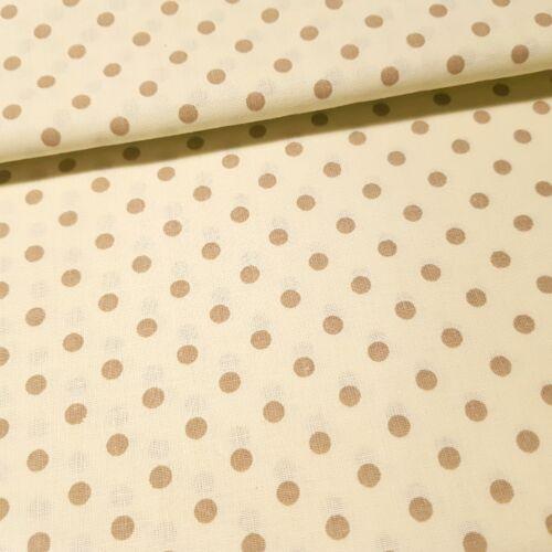 Ecrü alapon drapp pöttyös pamutvászon ( 5 mm )