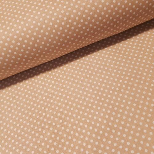 Drapp alapon pöttyös pamutvászon ( 2 mm )